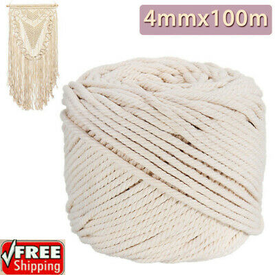 AU21.49 • Buy 4mm Macrame Rope Natural Beige Cotton Twisted Cord Artisan Hand Craft 100M SP