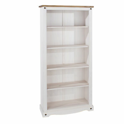 £109 • Buy Corona White Tall Pine Bookcase 5 Book Shelves Mexican Solid Wood Living Room