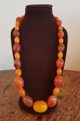 Vintage Chinese Butterscotch Baltic & Carnelian Agate Bead Necklace 47 G. • 195£