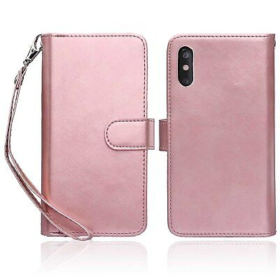 AU24.99 • Buy Leather Wallet Case With Card Holder Protective Folio Flip Cover For IPhone Xs/X