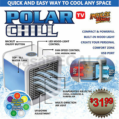 AU26.55 • Buy Chill Portable Air Cooler Conditioner NEW Cool Cooling For Bedroom Mini Fan USB