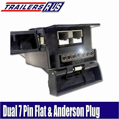 AU45 • Buy Dual Power 7 Pin Flat Trailer Socket With 50 Amp Anderson Plug With LED Light