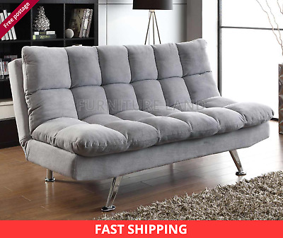 NEW PADDED 3 SEATER SOFA BED Light Grey Fabric Chrome Finish Legs A Modern Look • 189£