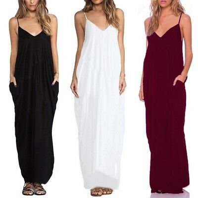 AU18.42 • Buy Women Summer Strappy Sleeveless Plus Size Cami Dress Beach Party Maxi Sundress