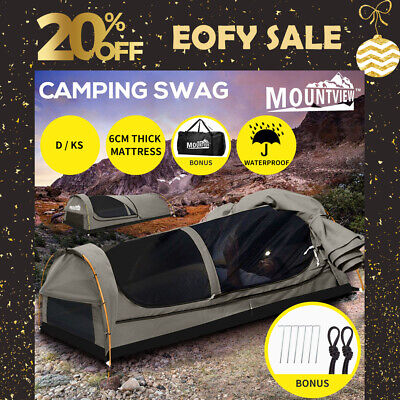 AU219.99 • Buy Mountview Double King Single Swag Camping Swags Canvas Dome Tent Hiking Grey