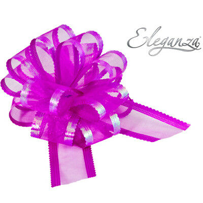 VARIOUS COLOURS-ELEGANZA 50mm Organza Pull Bow Quality Gift Wrap Ribbon Wedding • 1.39£