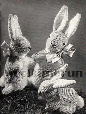 Vintage Toy Knitting Pattern. Bunny Rabbit Family. 1940s. Make With Oddments. • 1.70£