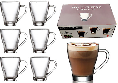 £12.95 • Buy 6 X Glass Tea Coffee Cups Cappuccino Cups Hot & Cold Drink Mugs Clear Set 260ml
