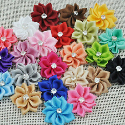 40pcs Satin Ribbon Flowers Bows With Appliques Sewing Craft DIY Wedding Room • 2.75£