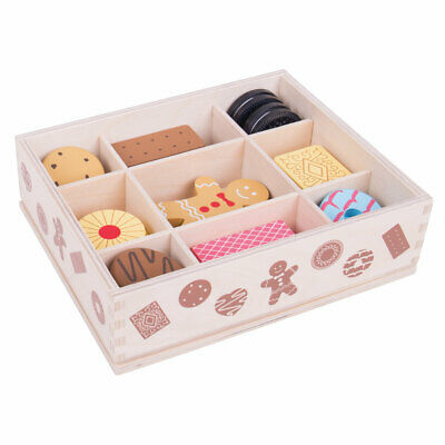 Bigjigs Toys Wooden Biscuit Box Pretend Play Food Roleplay Kitchen Shop Picnic • 14.99£