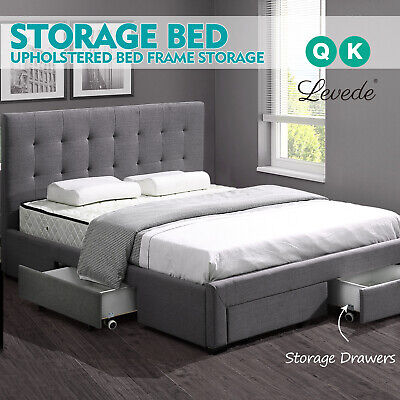 AU339.99 • Buy Levede Bed Frame Double King Fabric With Drawers Storage Wooden Mattress Grey