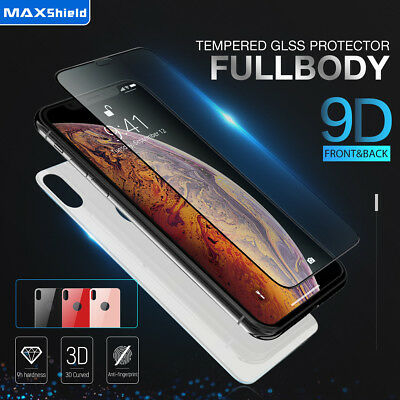 AU13.99 • Buy MAXSHIELD For IPhone X Xs XR Xs Max 9D Front+Back Tempere Glass Screen Protector