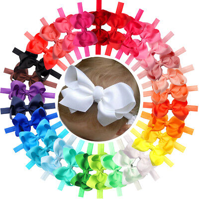 30Pc Lot Baby Girls 4.5  Hair Bows Headbands For Infant Toddlers Newborn Big Bow • 10.99$