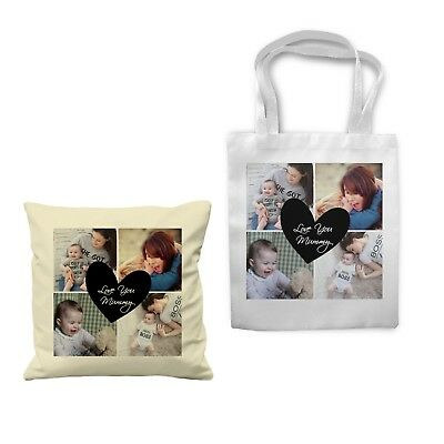 Personalized Photo Collage Love Mom Sofa Cushion Cover Tote Bag Canvas Gift • 6.99£