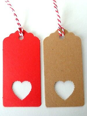 Gift Tags LOVE HEART Cut-out Kraft Card Labels +Ties 9x4cm Valentine's Day Wrap • 3.95£