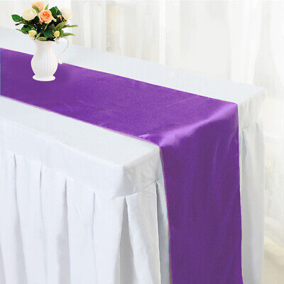 "Elsa Table Runner  Lilac satin with voile trim embroidered with beads 12/"" x 35/"""