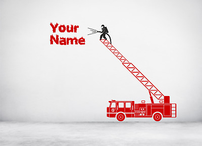 £12.50 • Buy Personalised Fire Engine Truck Turntable Ladder Style Wall Decal Sticker Art