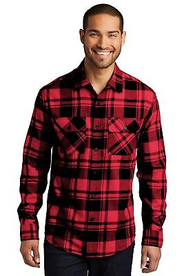 $21.99 • Buy Mens Plaid Flannel Shirt 2 Chest Pockets Checkered Casual Very Soft Cotton-blend