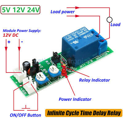 AU3.11 • Buy DC 5V 12V 24V Infinite Cycle Delay Timing Timer Relay ON OFF Switch Loop Module