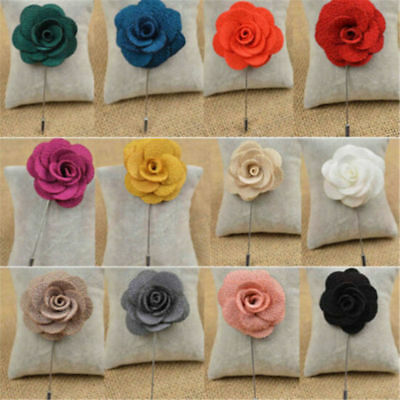 1Pc Unisex Lapel Flower Handmade Boutonniere Stick Brooch Pin Accessorie • 1.44£
