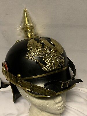 German Army Pickelhaube Helmet Repro Hat Tin Metal Ww1 Ww2 Pattern • 150£