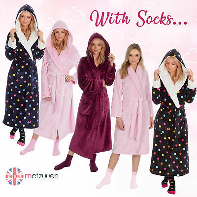 Ladies Women Baby Pink Soft Fleece Luxury Dressing Gown And Fluffy Socks Gift • 24.99£