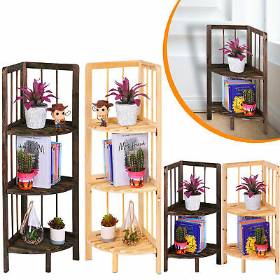 Corner Shelf/Shelving Rack Unit Display Stand Decoration Plants Natural Wood • 9.99£