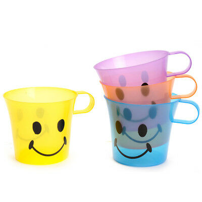 Childrens Kids Smiley Plastic Mugs Cups With Handle Set Of 4 Multicolour Plastic • 5.99£