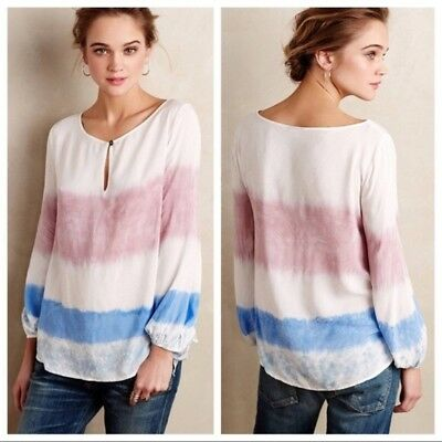 $ CDN78 • Buy Holding Horses Tie Dye Anthropologie Peasant Blouse Key Hole Blue White Lavender