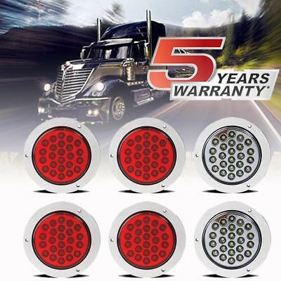 $39.99 • Buy 4inch 24 LED Round Stop Turn Tail Backup Reverse Truck Lights 4 Red + 2 White US