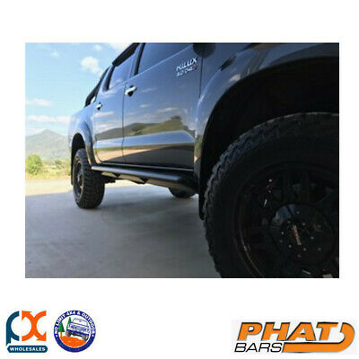 AU1095 • Buy Phat Bars Hilux N70 Angled Rock Sliders / Side Steps - Powdercoated - Ally Step