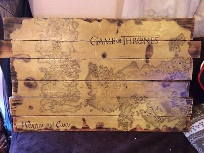 £59.99 • Buy Game Of Thrones Map Vintage Style On Pallet Wood Amazing GOT Item Westeros