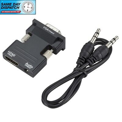 1080P HDMI Female To VGA Male With Audio Output Cable Converter Adapter Lead • 3.99£