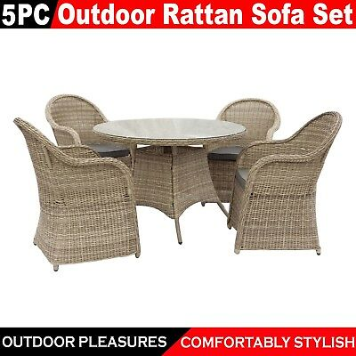 AU826.50 • Buy 5Pc PE Rattan Wicker Sofa Outdoor Furniture Lounge Dining Garden Patio Set