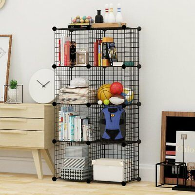 AU38.99 • Buy 4 To 25 Cube Black DIY Wire Storage Shelves Cabinet Metal Display Shelf Toy Book