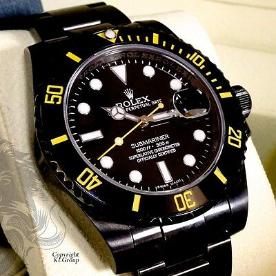 $ CDN25661.23 • Buy Black ROLEX Submariner KingsLife Limited Edition GIALLO YELLOW DLC / PVD  116610