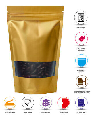 Window Gold Matt Stand Up Pouches Mylar Foil Bag Heat Seal Food Grade Zip Lock  • 0.99£