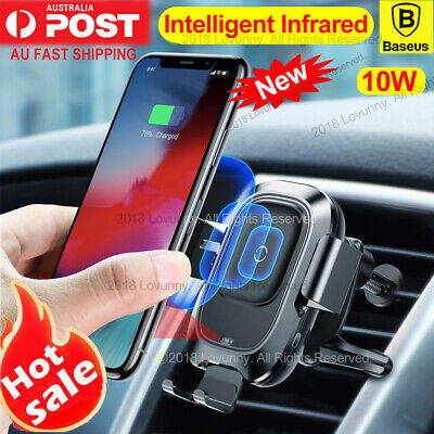 AU35.98 • Buy Baseus Qi Wireless Charger Car Air Vent Mount Holder IPhone 11 Pro X Samsung S10