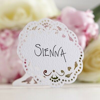VINTAGE LACE - PLACE NAME CARDS X10 - White Wedding - CLEARANCE - RRP £3.99 • 1.99£