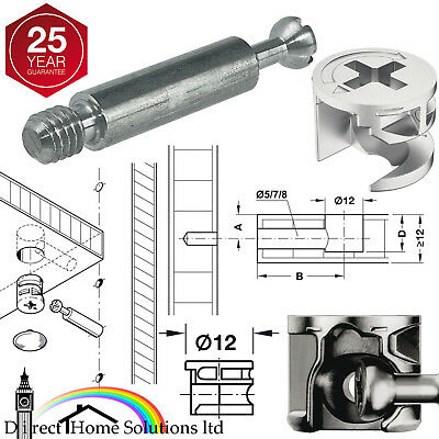 HAFELE MINIFIX 12mm CAM LOCK BOLTS & FIXING DOWELS FURNITURE FITTINGS FLAT PACK • 6.99£