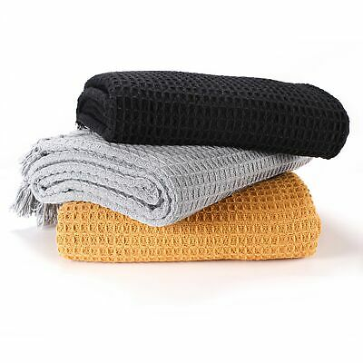 £9.99 • Buy Waffle Throws For Sofa Armchair Blanket Single Bed Cover,127x152cm, In 3 Colours