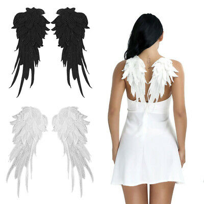 £4.89 • Buy Embroidered Fabric Angel Wings Christmas Halloween Fancy Dress Costume Night S/L