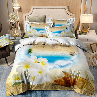 Sand Beach Duvet Cover Set Pillowcase Seashell Nautical Scenery Bedding Set • 25.60£