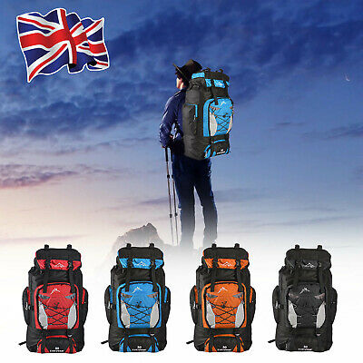AU23.35 • Buy 80L Extra Large Nylon Camping Backpack Travel Hiking Rucksack Luggage Bag UK