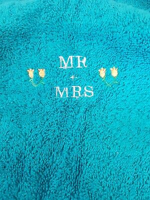 £8.99 • Buy Embroidered Mr And Mrs Teal Green Towels Set 100% Egyptian Cotton Wedding Gift