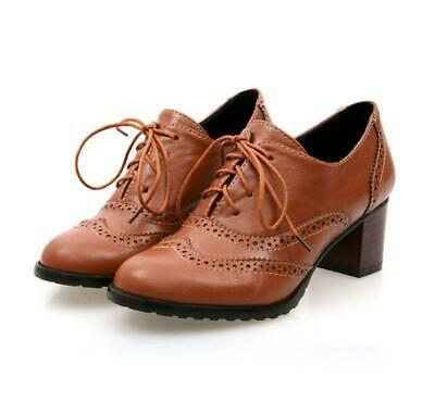 e075ea1fcc British Womens Brogues Lace Up Pointy Toe Chunky Heel Office Shoes Pumps  Oxfords • 30.35$