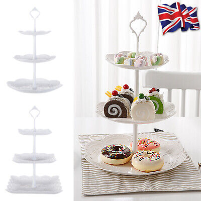 £6.15 • Buy 3 Tier Plastic Cake Stand Afternoon Tea Wedding Plates Party Embossed Tableware