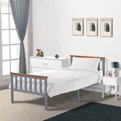 Single Pine Bed Frame 3ft Grey & Oak Wooden Shaker Style Bedroom Furniture • 49.99£