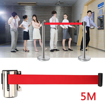 5M Queue Barrier Retractable Crowd Belt Crowd Queuing Control Obstacle Rope • 9.49£