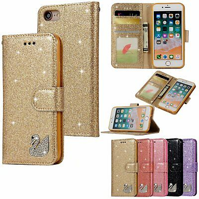 $ CDN5.18 • Buy Sparkly Glitter Swan Leather Wallet Flip Case Cover For Samsung Galaxy S7 S8 S9